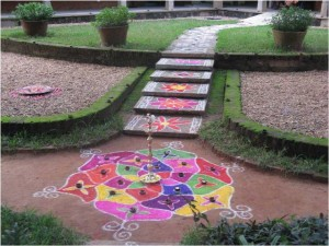 Colorful kolams in the garden