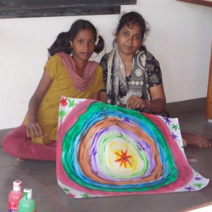 Hema and Jayasudha display their painting